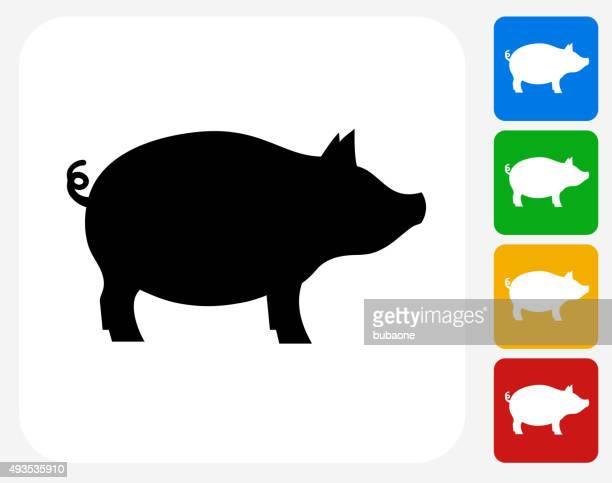 Pig Icon Flat Graphic Design