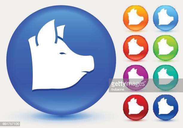 Gris-ikonen på blanka färgcirkeln knappar