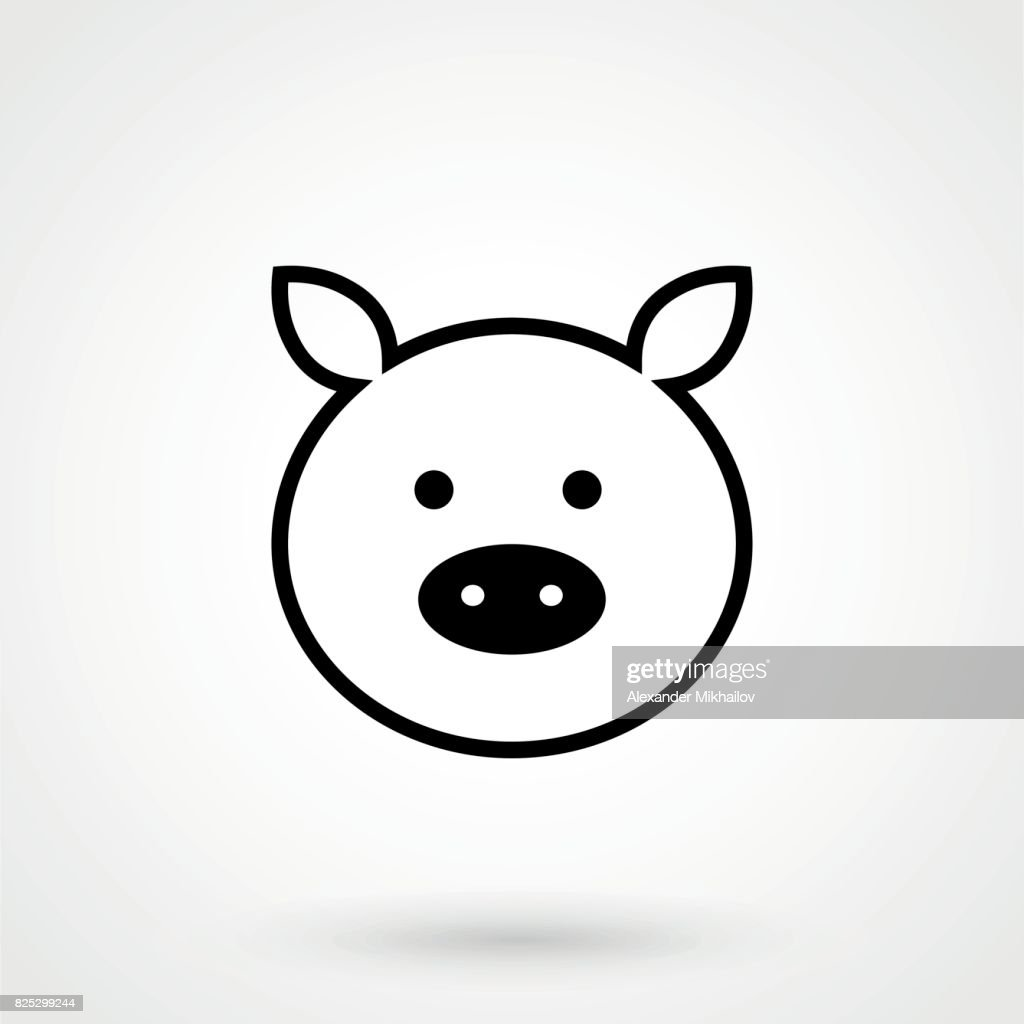 Pig icon simple design on a white background. Vector symbol illustration