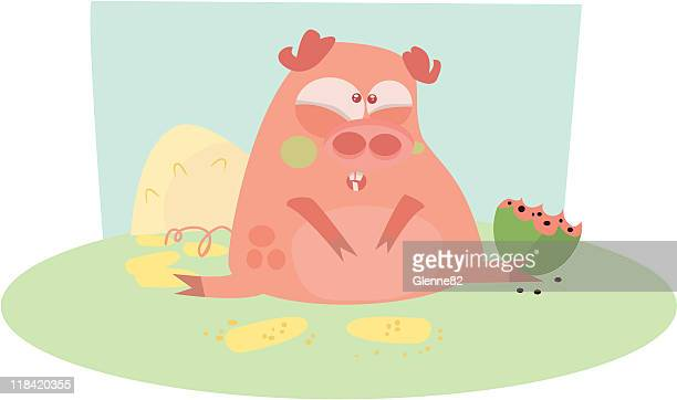 pig in pain - stomach pain stock illustrations, clip art, cartoons, & icons