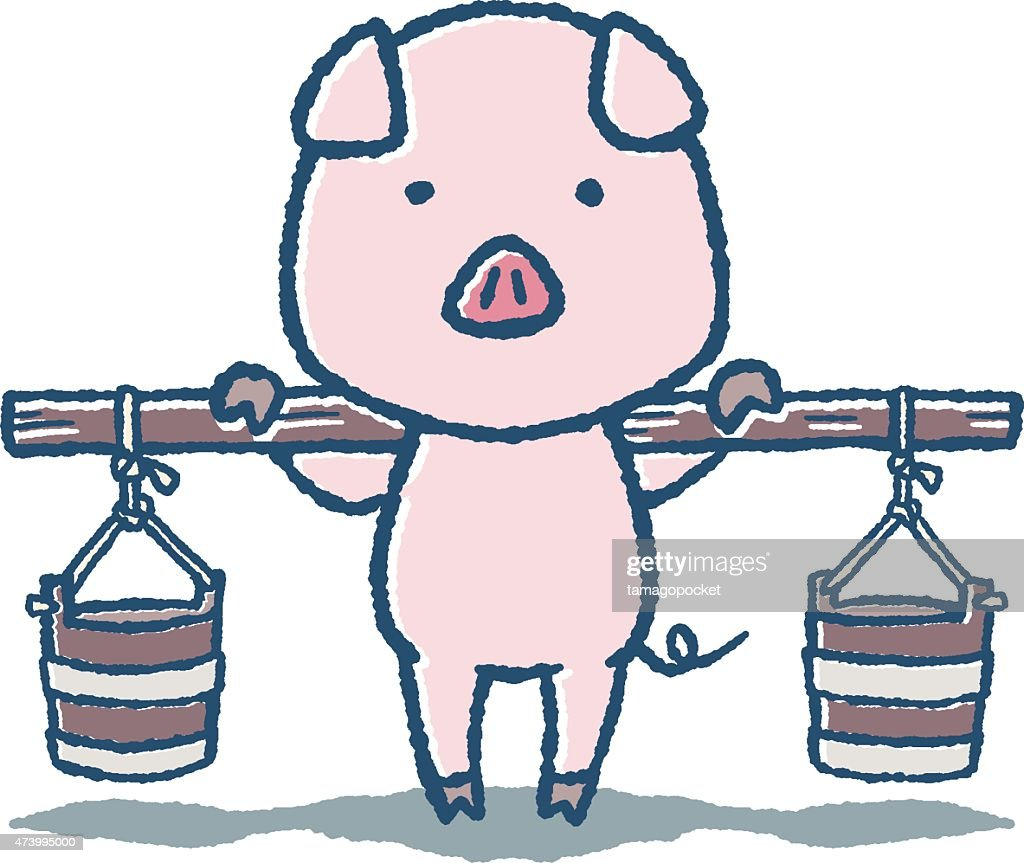 Pig of fetching water