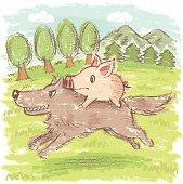 Pig on wolf