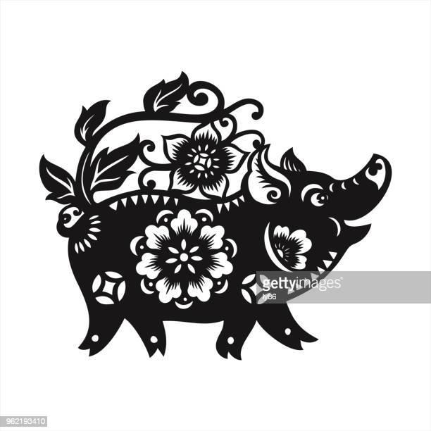 illustrations, cliparts, dessins animés et icônes de découpage de papier cochon - signe du zodiaque chinois