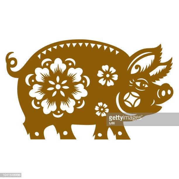 pig papercut, year of the pig, 2019, happy new year, chinese new year - year of the pig stock illustrations