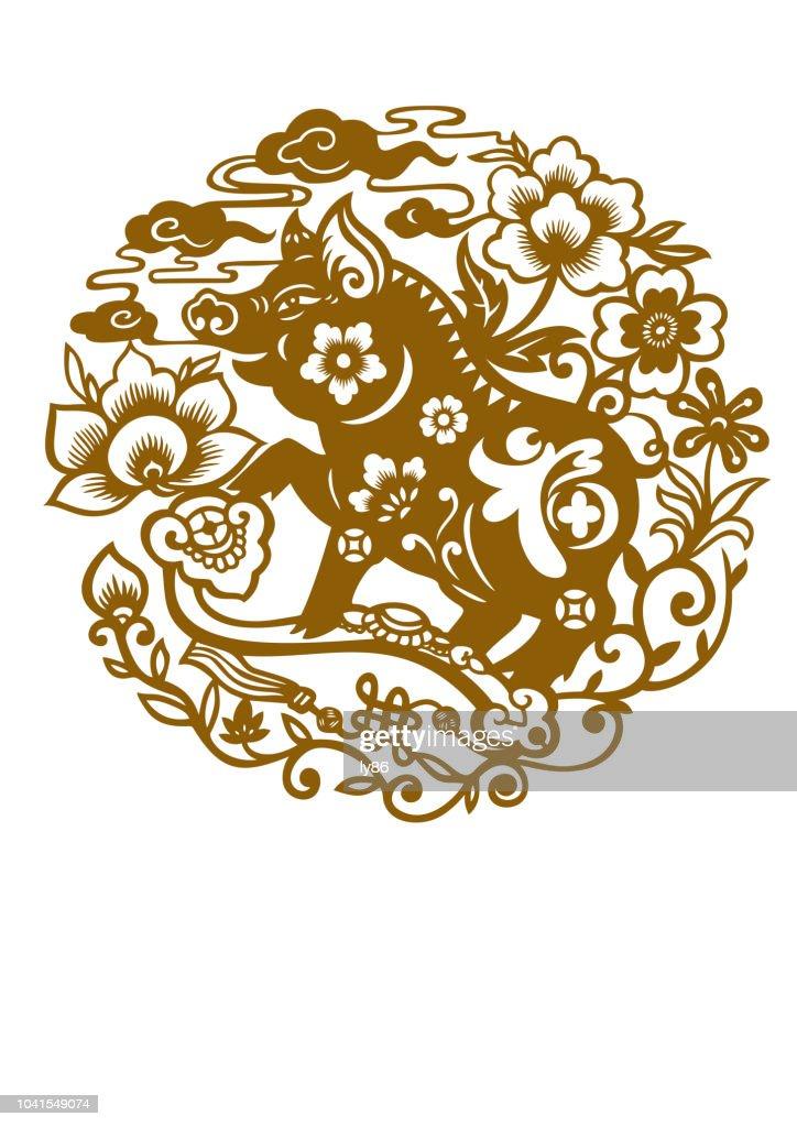 Schwein Papercut Jahr Des Schweins 2019 Happy New Year Chinese New ...