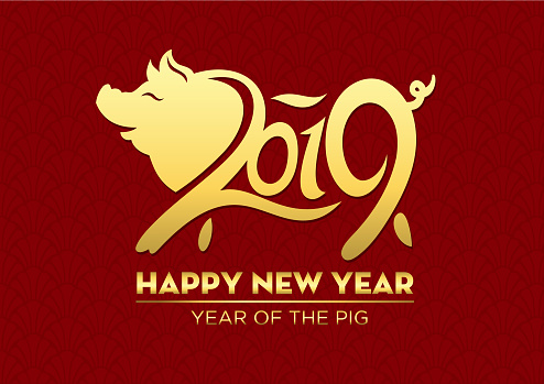 Pig papercut, Year of the Pig, 2019, Happy New Year, Chinese New Year - gettyimageskorea