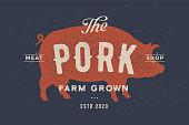 Pig, pork. Poster for Butchery meat shop