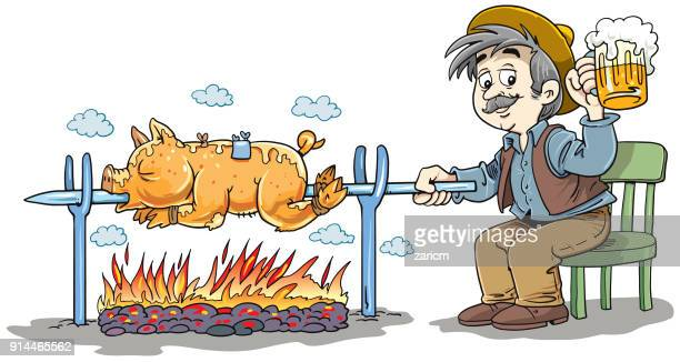 Pig roasting over a fire