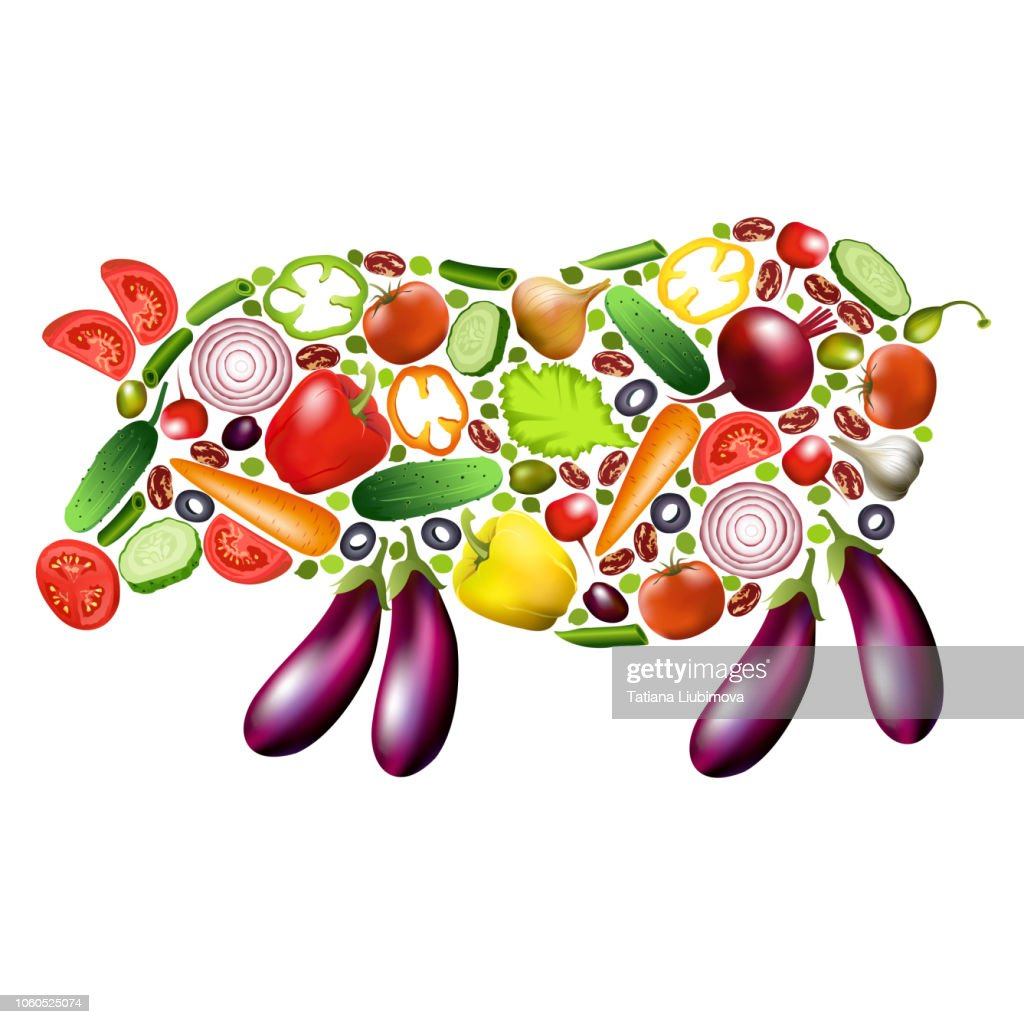 Pig silhouette composed from vegetables, vector vegetarian concept design.