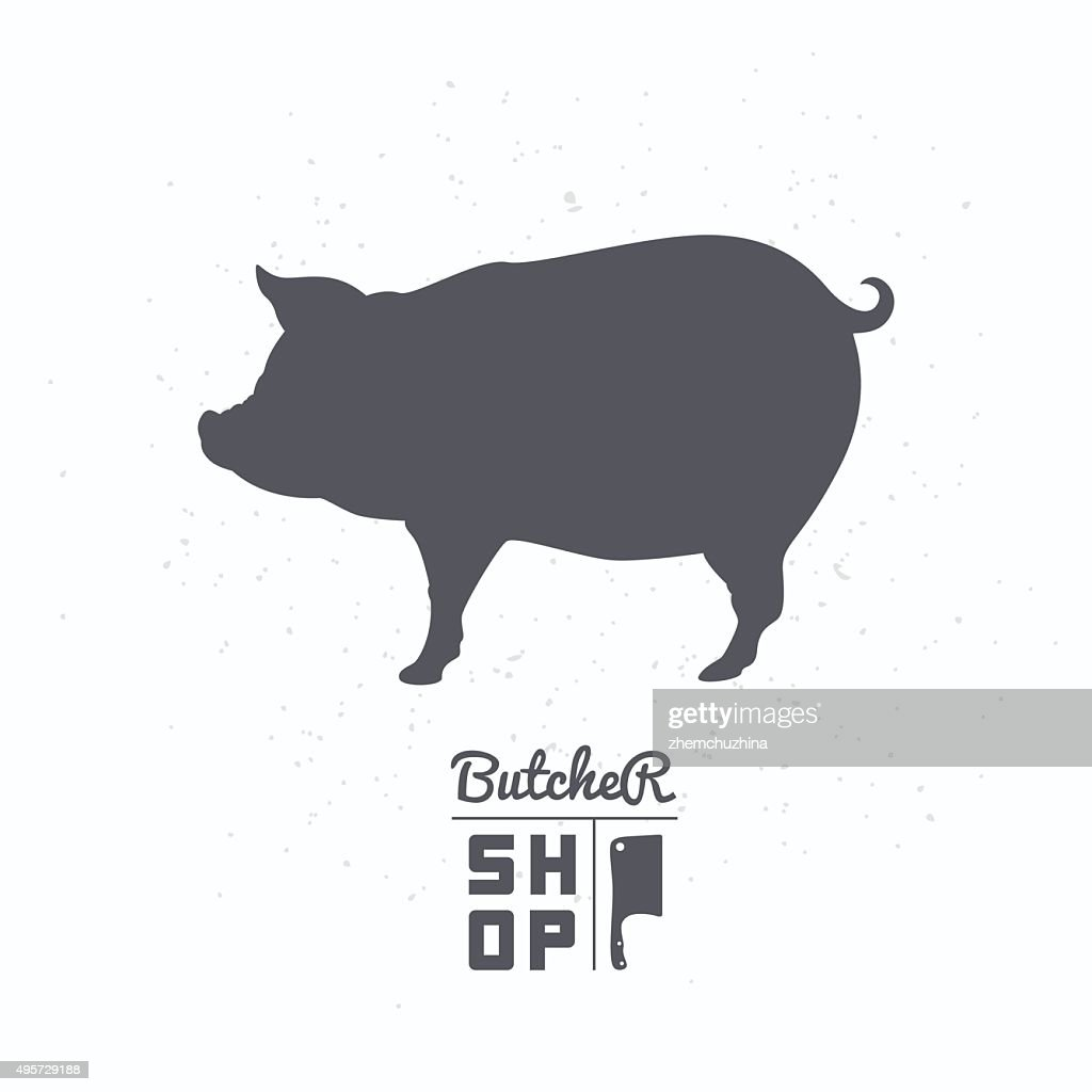 Pig silhouette. Pork meat. Butcher shop label template