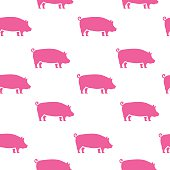 Pig silhouette seamless pattern. Pork meat.Vector illustration