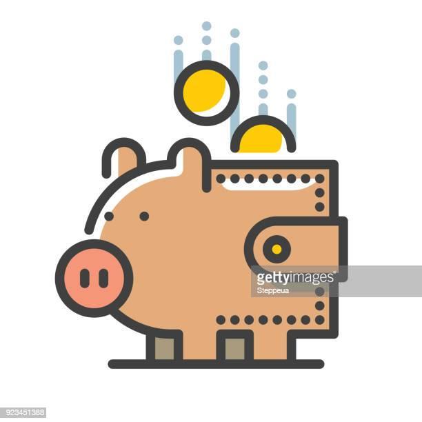 pig & wallet line icon - spending money stock illustrations, clip art, cartoons, & icons
