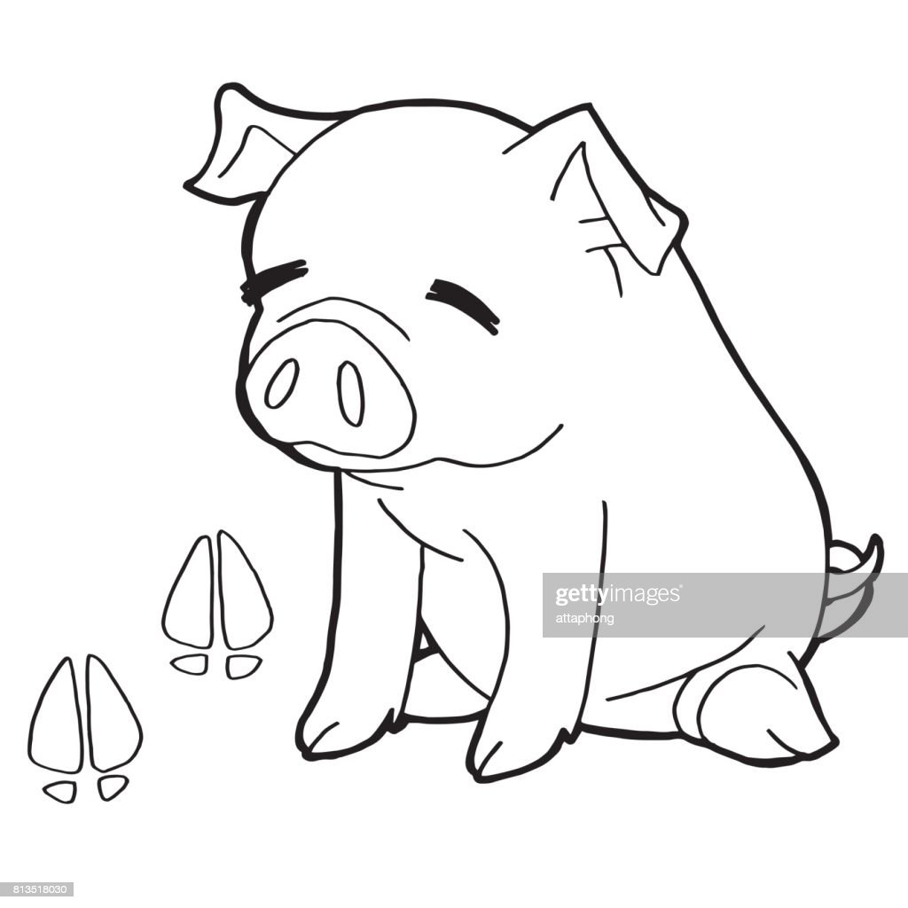 Pig With Paw Print Coloring Page Vector Vector Art Getty Images