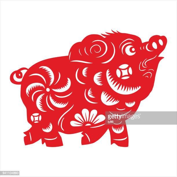 illustrations, cliparts, dessins animés et icônes de cochon, signe du zodiaque - signe du zodiaque chinois