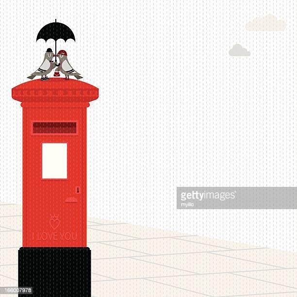 Pombo postbox Amor de Guarda-chuva Pomba ilustração vetorial de Londres