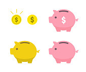 Piggy bank and coin icon set
