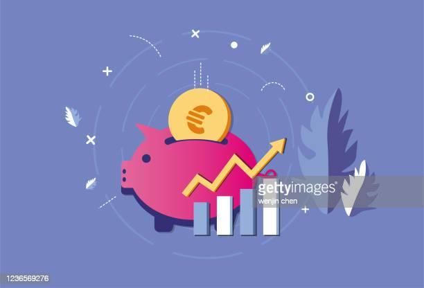 stockillustraties, clipart, cartoons en iconen met spaarvarken en euro stock market - spaargeld