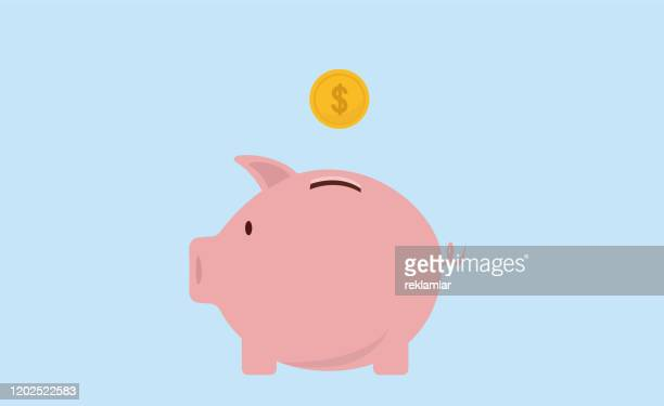 stockillustraties, clipart, cartoons en iconen met spaarvarken en gouden munten. modern vlak ontwerp, piggy bank en munt pictogramvector. - spaarvarken