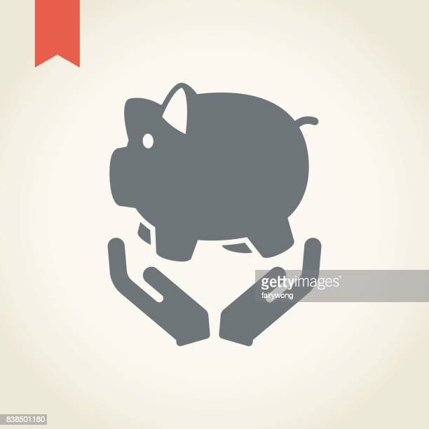 Piggy bank and hands icon