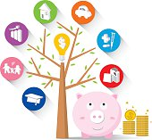 Piggy bank and icons design