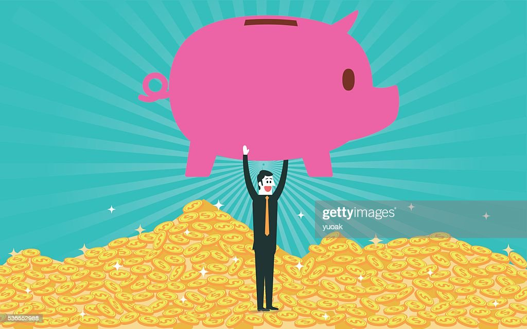 Piggy bank and pile of gold coins : Stock Illustration