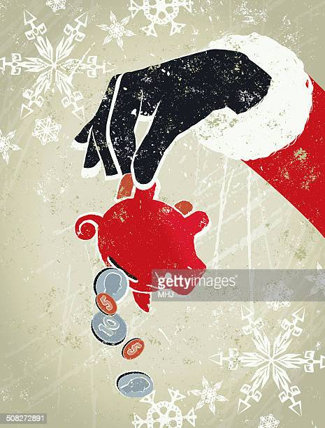 piggy bank being held upside down by a santa - christmas cash stock illustrations