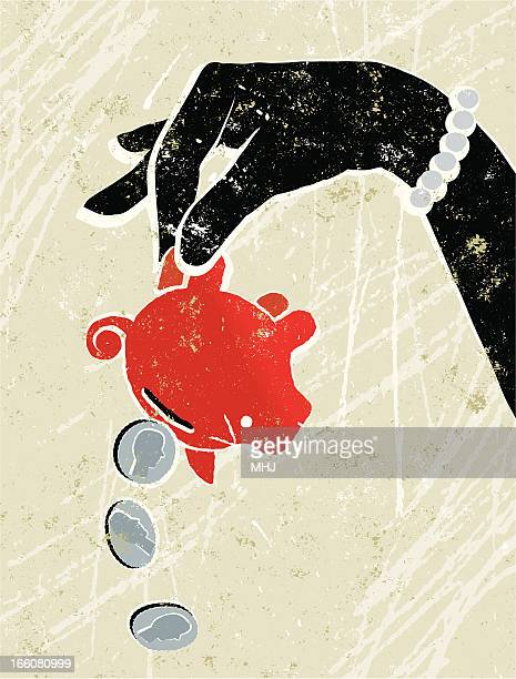 piggy bank being held upside down by a woman - poverty stock illustrations