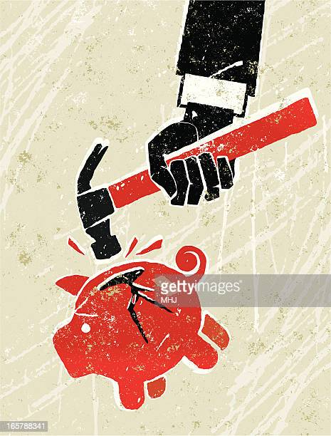 piggy bank being hit with a hammer. - subprime loan crisis stock illustrations