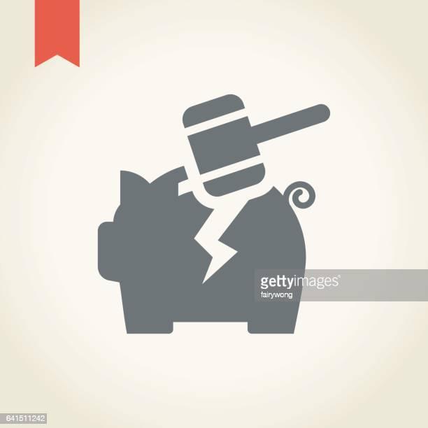 piggy bank broken with hammer icon - broken stock illustrations, clip art, cartoons, & icons