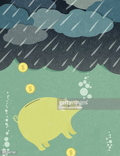 piggy bank caught in a rain storm - drowning stock illustrations, clip art, cartoons, & icons
