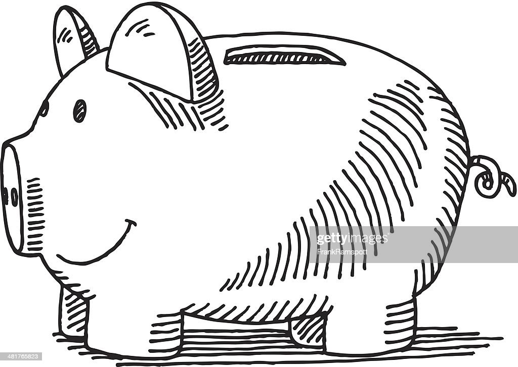 Line Drawing Piggy Bank : Piggy bank drawing vector art getty images