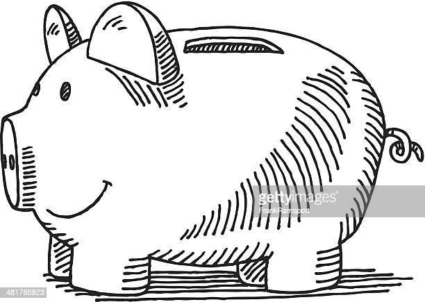piggy bank drawing - piggy bank stock illustrations