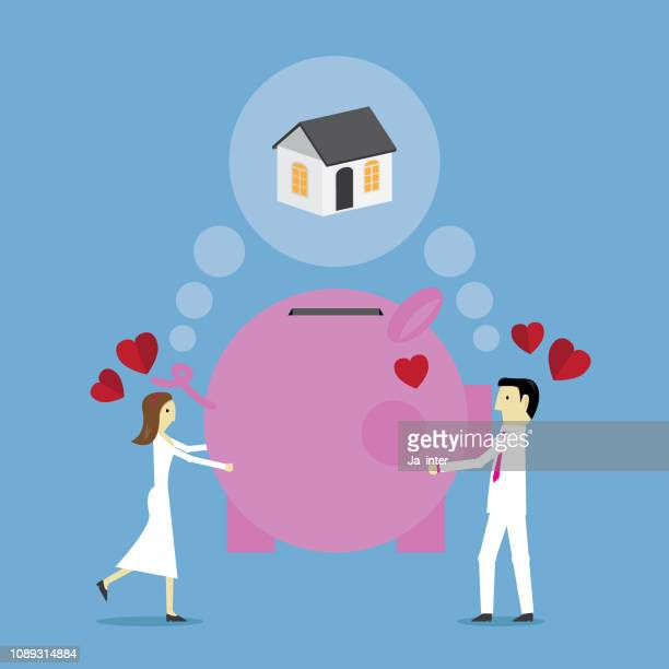 ilustraciones, imágenes clip art, dibujos animados e iconos de stock de sueños de piggy bank - impuesto sobre la renta
