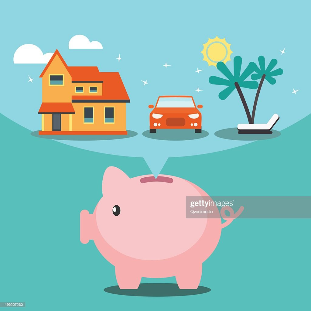 Piggy bank dreaming house, car and holiday.  Investing money concept