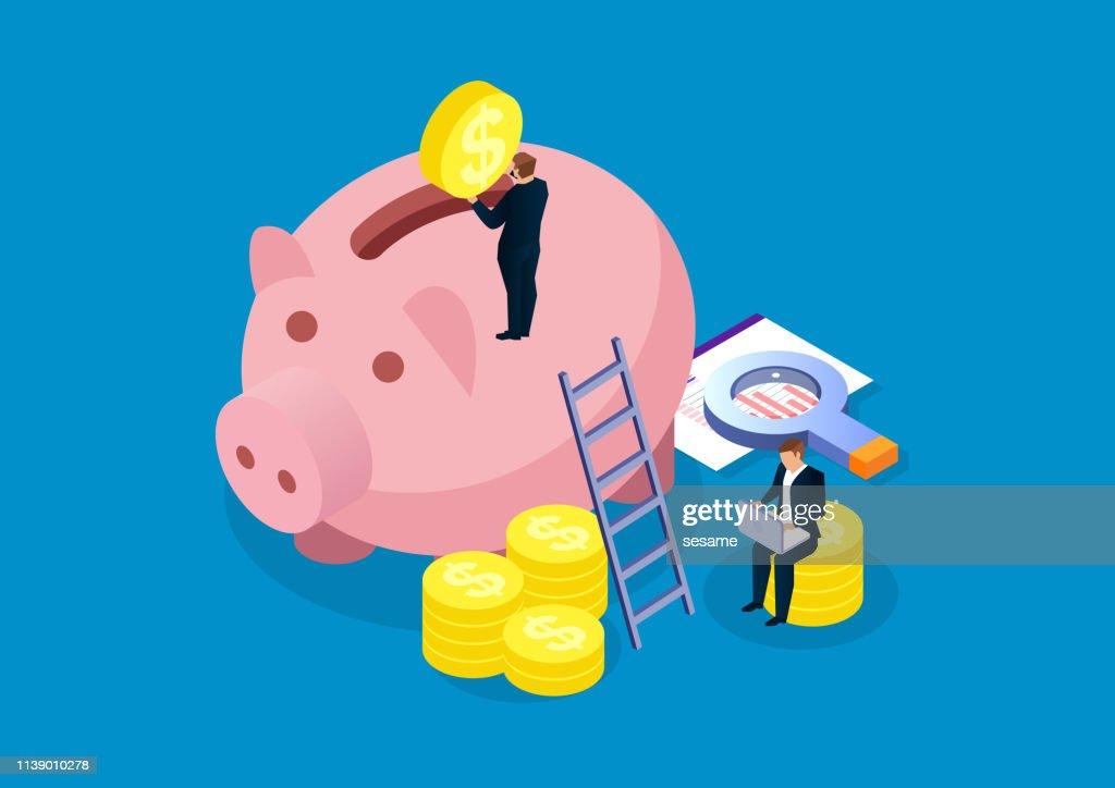Piggy Bank, financiële analyse en investeringen : Stockillustraties