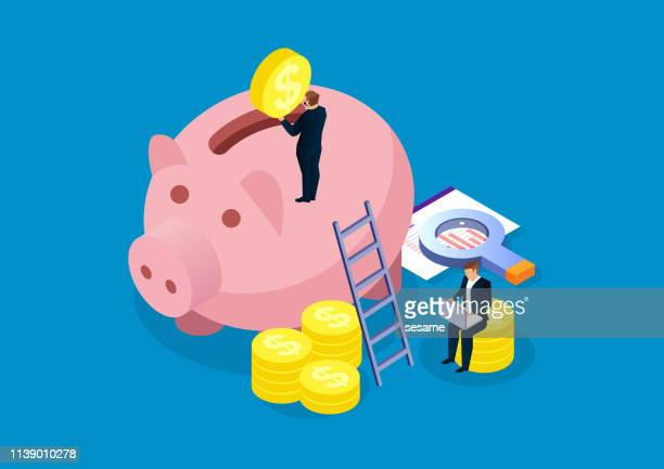 illustrazioni stock, clip art, cartoni animati e icone di tendenza di piggy bank, financial analysis and investment - collezione