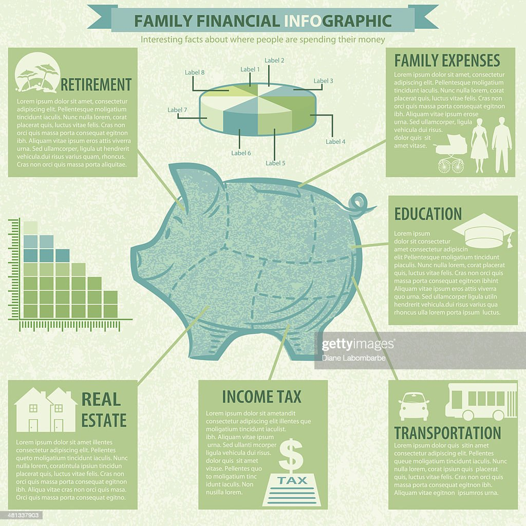 Piggy Bank Financial Infographic Template
