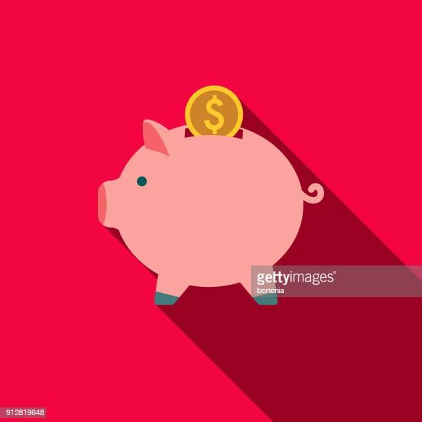 piggy bank flat design e-commerce icon - piggy bank stock illustrations