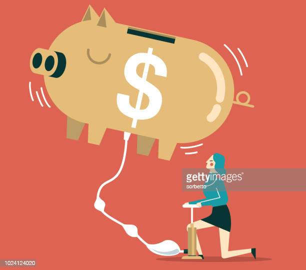 Piggy bank flying - Businesswoman