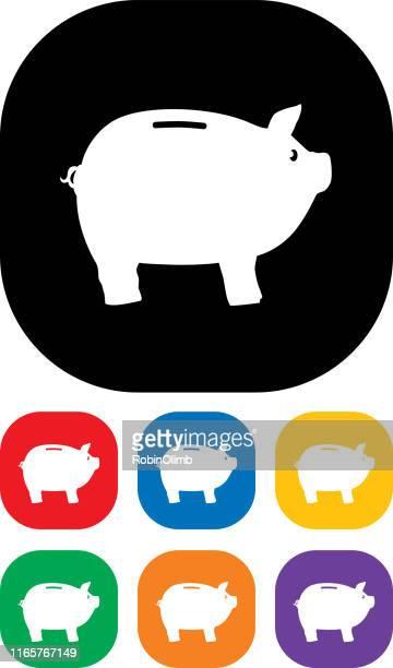ilustraciones, imágenes clip art, dibujos animados e iconos de stock de piggy bank icon set 1 - impuestosobrelarenta