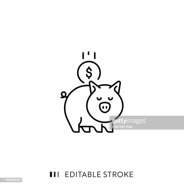 piggy bank icon mit editierbaren strich und pixel perfekt. - sparschwein stock-grafiken, -clipart, -cartoons und -symbole