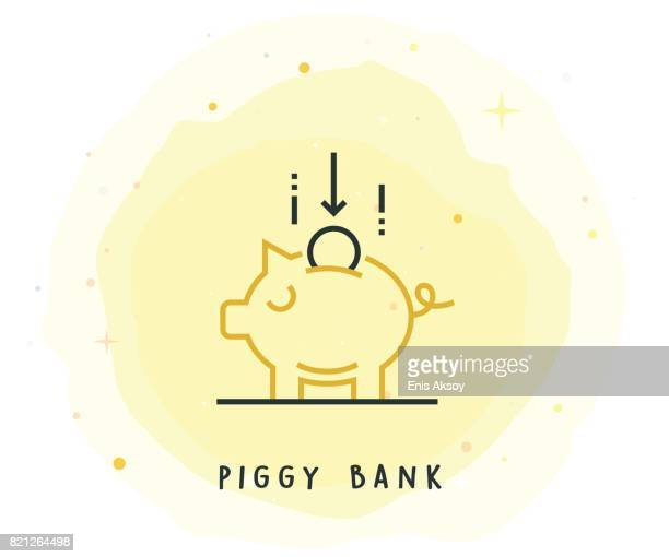 Piggy Bank Icon with Watercolor Patch