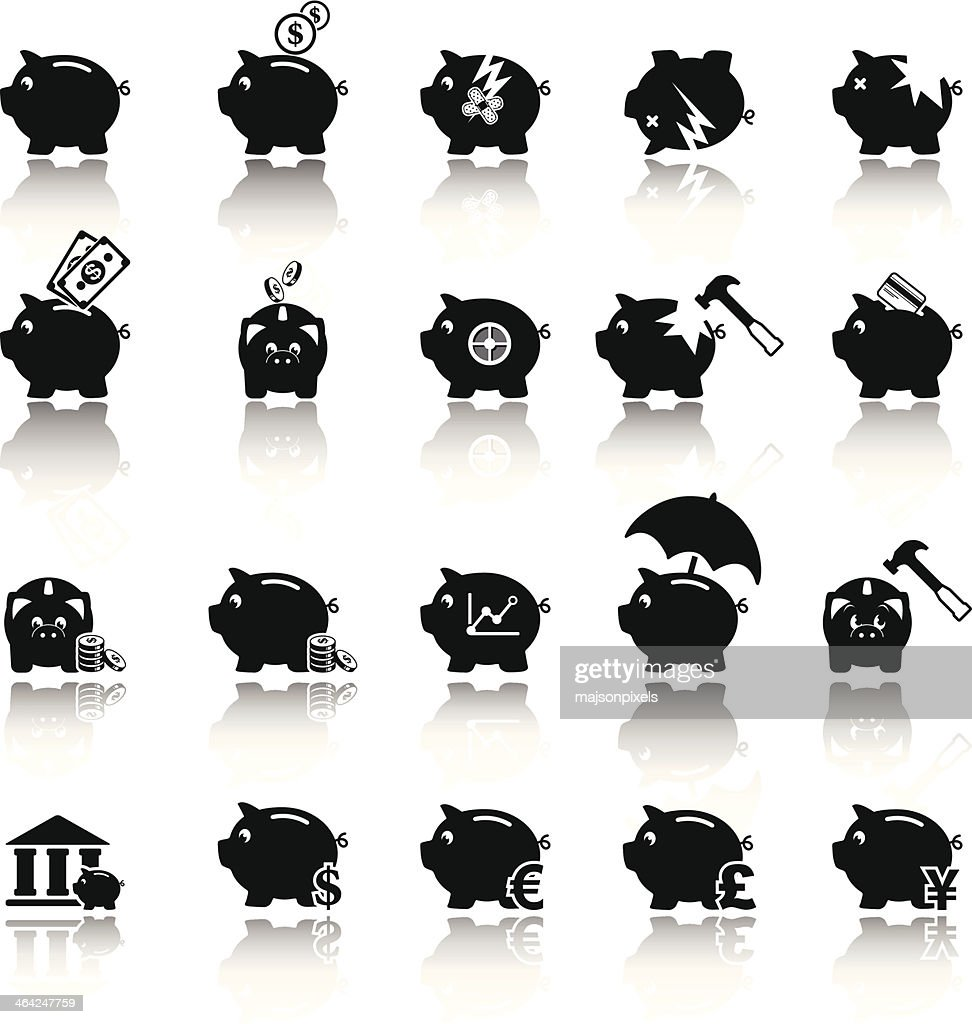 Piggy bank icons, banking and saving