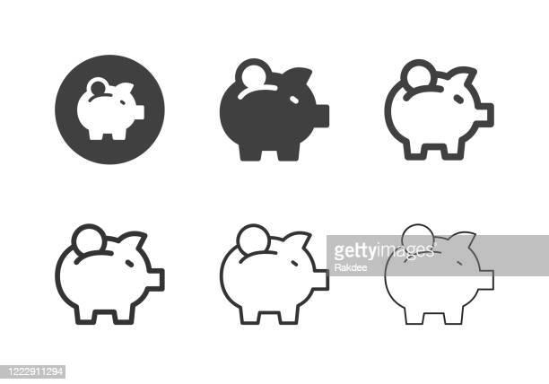 stockillustraties, clipart, cartoons en iconen met piggy bank iconen - multi series - financiële planning
