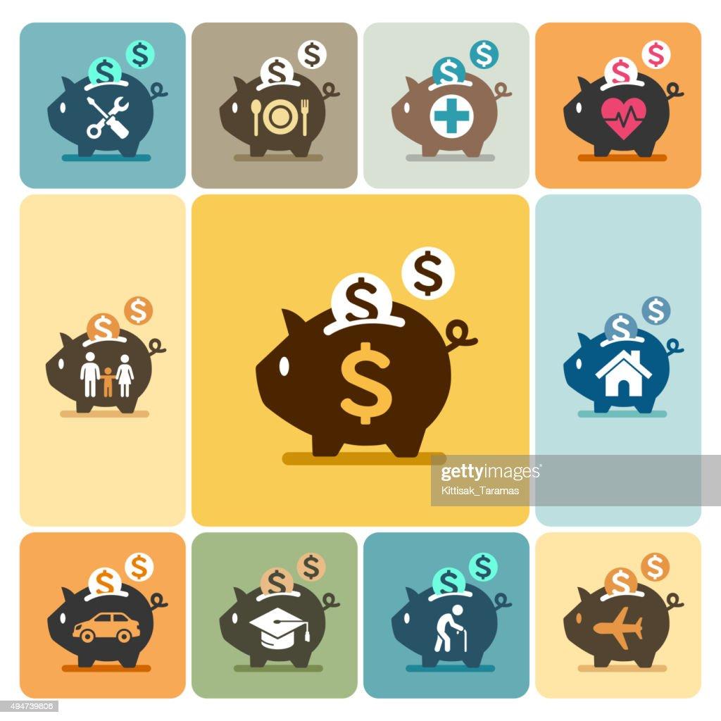 Piggy bank icons.