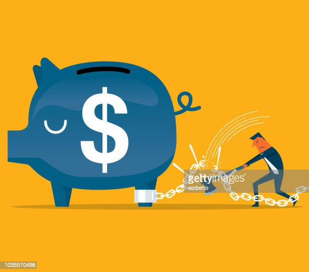 piggy bank in chains - businessman - spending money stock illustrations, clip art, cartoons, & icons
