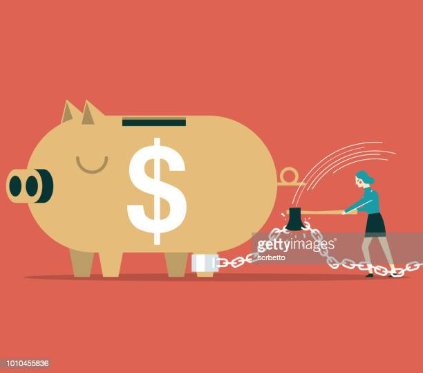 piggy bank in chains - businesswoman - spending money stock illustrations, clip art, cartoons, & icons