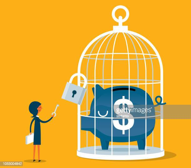 piggy bank in large birdcage - businesswoman - releasing stock illustrations