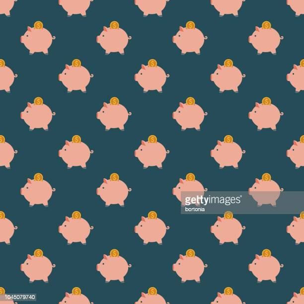 piggy bank insurance seamless pattern - piggy bank stock illustrations