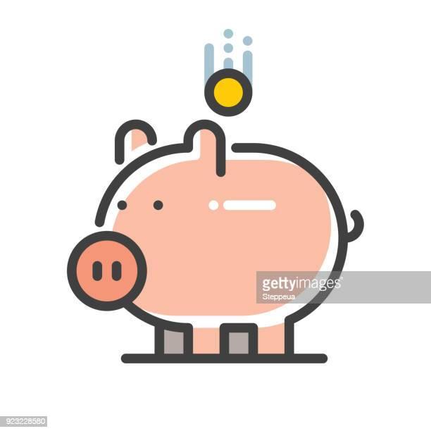 Piggy bank line icon